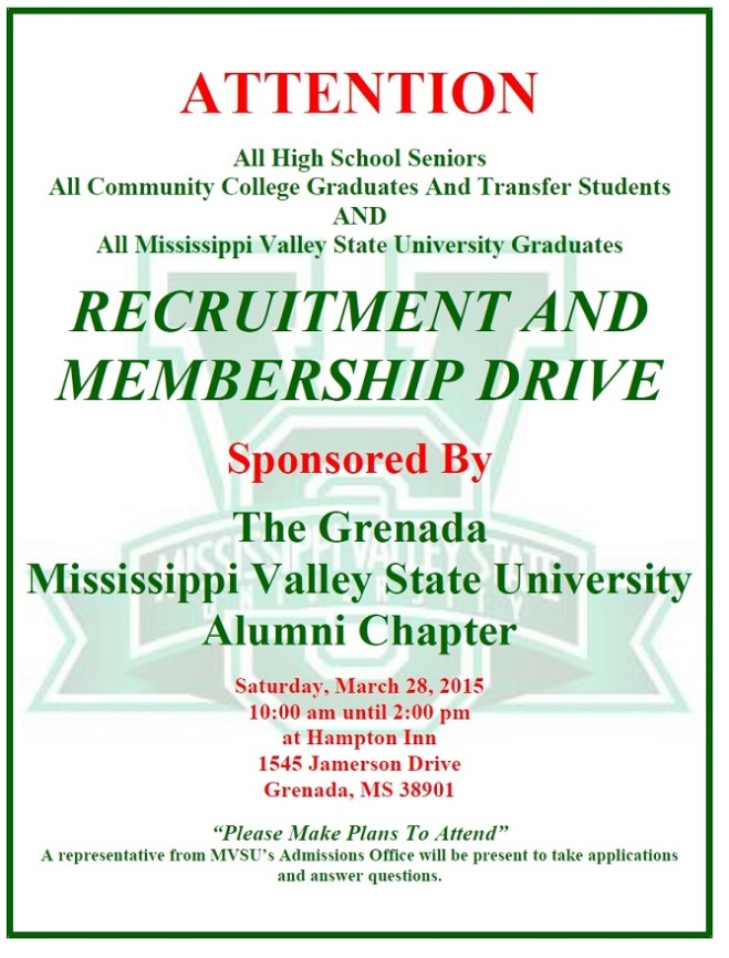 Grenada MVSU 2015 Recruitment Drive Flyer
