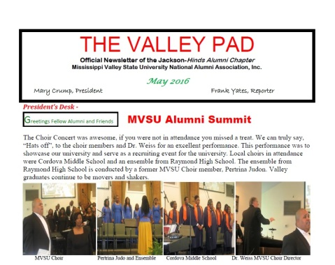Jackson-Hinds, MS Alumni Chapter News Letter May 2016