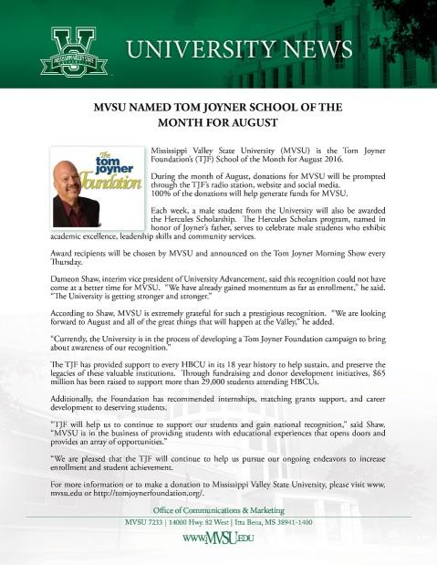 tom joyner school of the month 2016